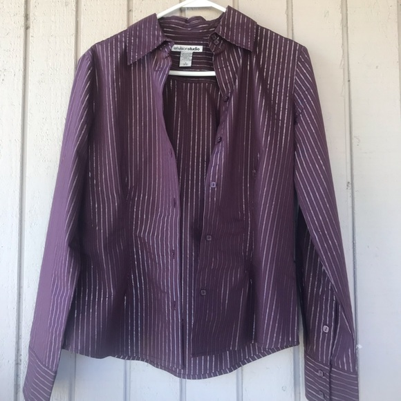 Tops - Purple Blouse with silver and black stripes